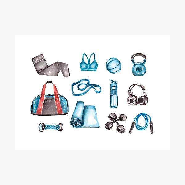Watercolor Workout/Exercise Equipment Photographic Print