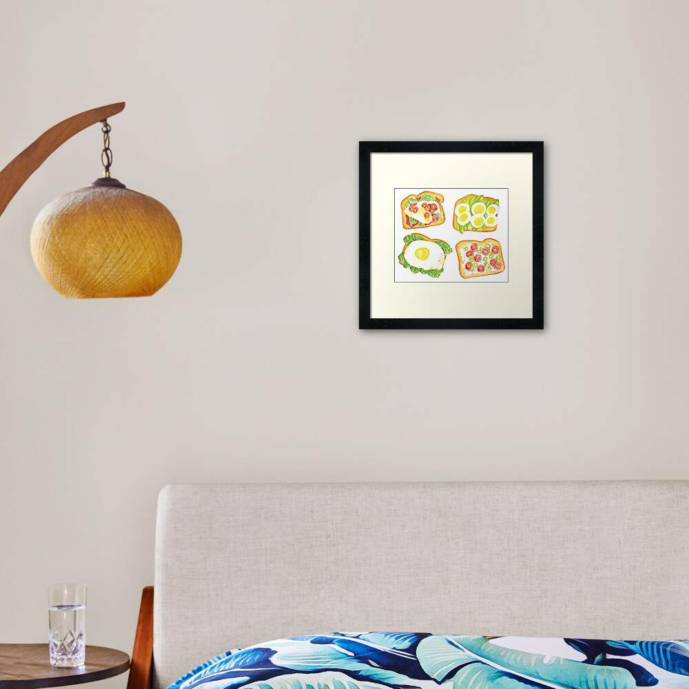 Watercolor Healthy Toast Toppings Framed Art Print
