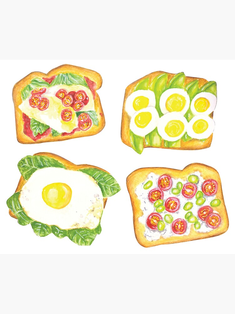 Watercolor Healthy Toast Toppings by erika-lancaster