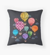 Hot Air Balloon Night Throw Pillow