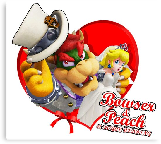 super mario odyssey bowser and peach wedding art canvas prints by