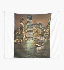 Sydney's Circular Quay at Night Wall Tapestry