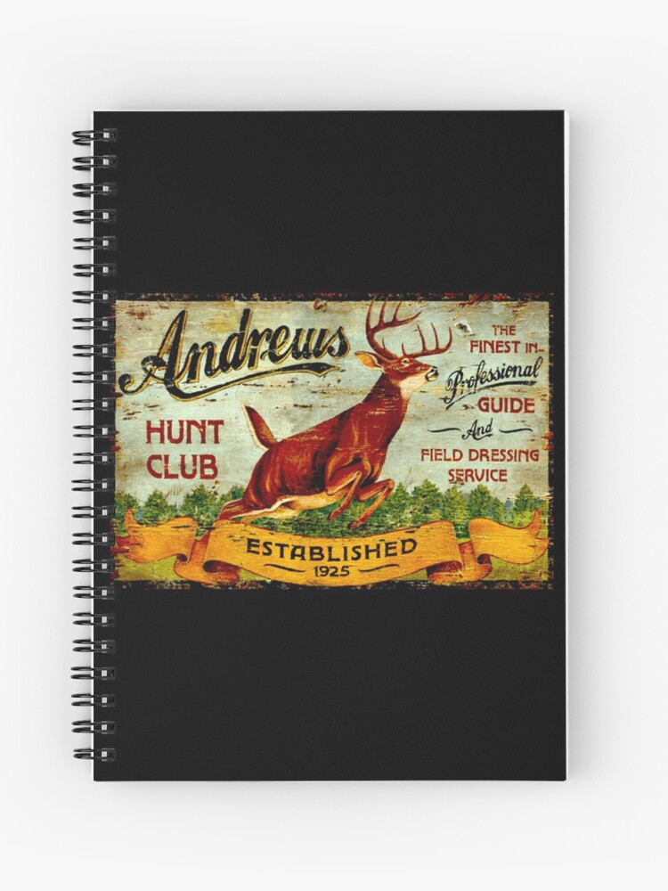 ANDREWS HUNT CLUB: Vintage Hunting Print | Spiral Notebook