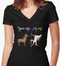 Your wife my wife unicorn, funny unicorn, pole unicorn Women's Fitted V-Neck T-Shirt