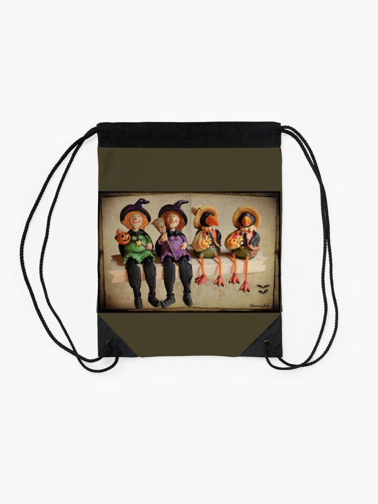 Alternate view of Tell Us A Happy Halloween Story! Drawstring Bag