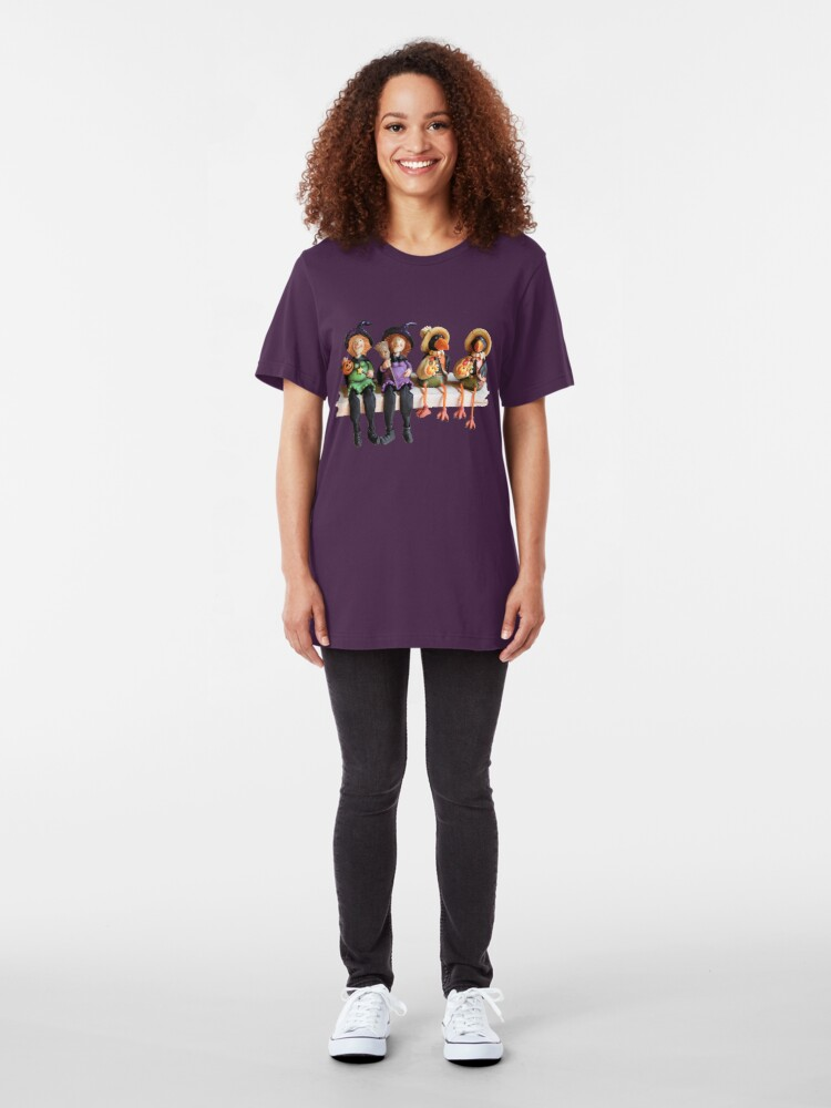 Alternate view of Tell Us A Happy Halloween Story! Slim Fit T-Shirt
