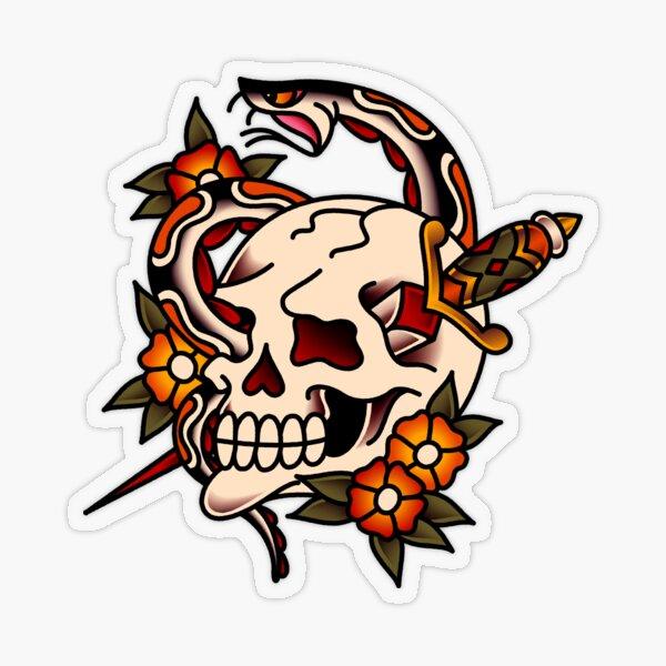 Death and Rebirth Skull Motif Transparent Sticker