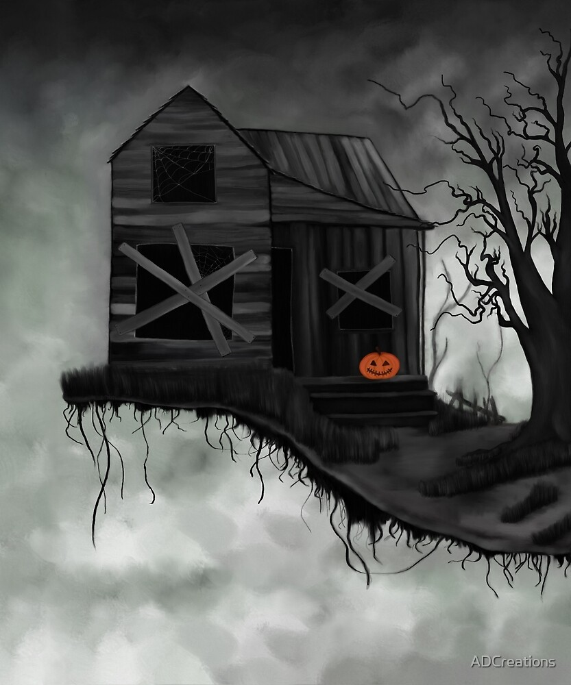 Haunted House and Jolly Pumpkin by ADCreations