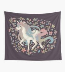 Unicorn and Flowers Wall Tapestry