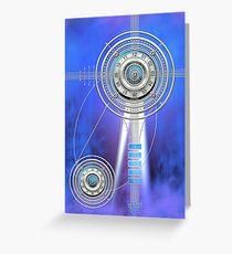 Blue Clock Metal   Digital Art   Graphic Design Greeting Card