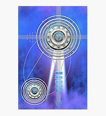 Blue Clock Metal   Digital Art   Graphic Design Photographic Print