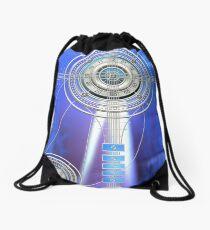 Blue Clock Metal | Digital Art | Graphic Design Drawstring Bag
