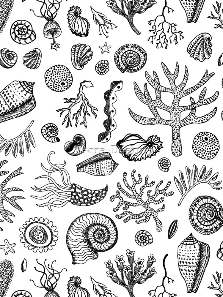Natural Forms - Black and White - Nautical monochrome pattern by Cecca Designs by Cecca-Designs