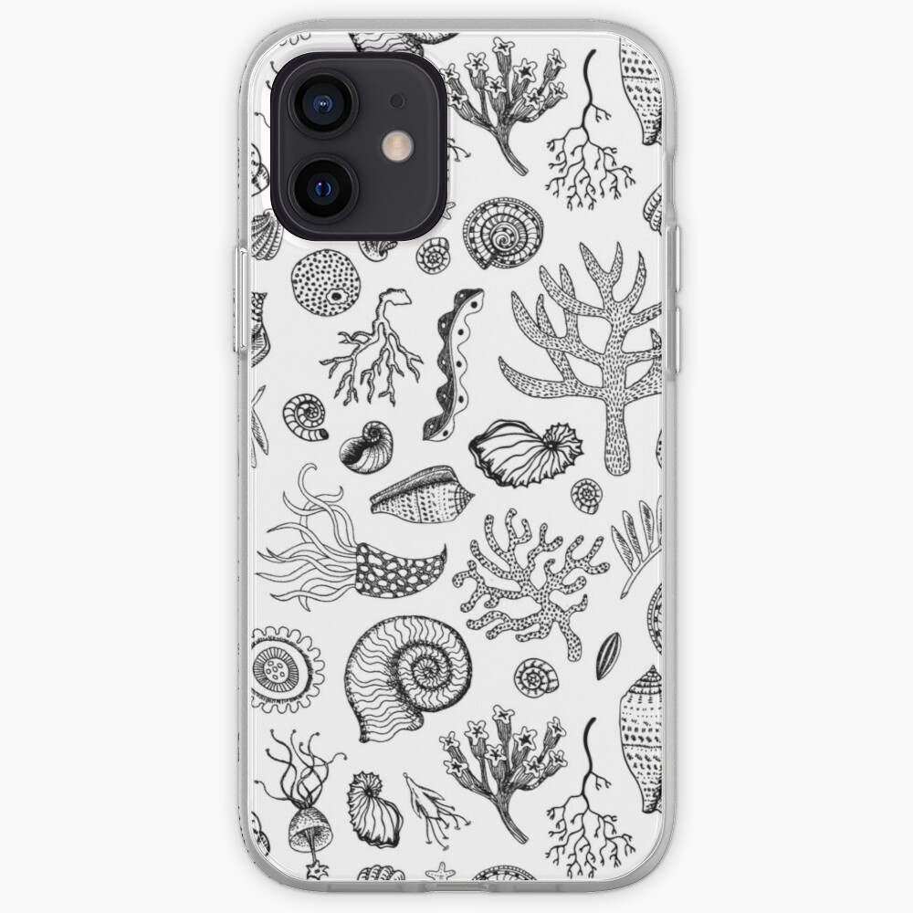 Natural Forms - Black and White - Nautical monochrome pattern by Cecca Designs iPhone Case & Cover