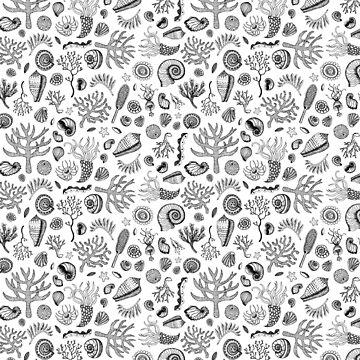 Natural Forms - Black and White - Nautical monochrome pattern by Cecca Designs by Cecca-Designs