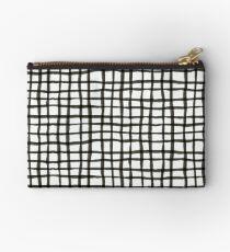 Painted Grid Print | White Zipper Pouch