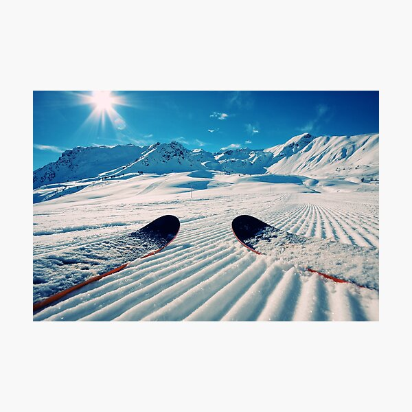Ski's on Freshly Groomed Snow Photographic Print