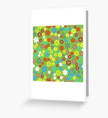 Spring Colored Flower Seamless Pattern on Green Background Greeting Card