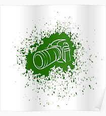 Digital Camera Icon. Photographic Poster on Green Blob Background Poster
