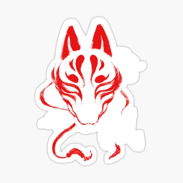 Kitsune Mask - Japanese Traditional Fox - Kanji Ink Sticker