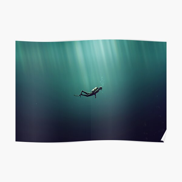 Underwater Scuba Diver in a Dark Lake Poster