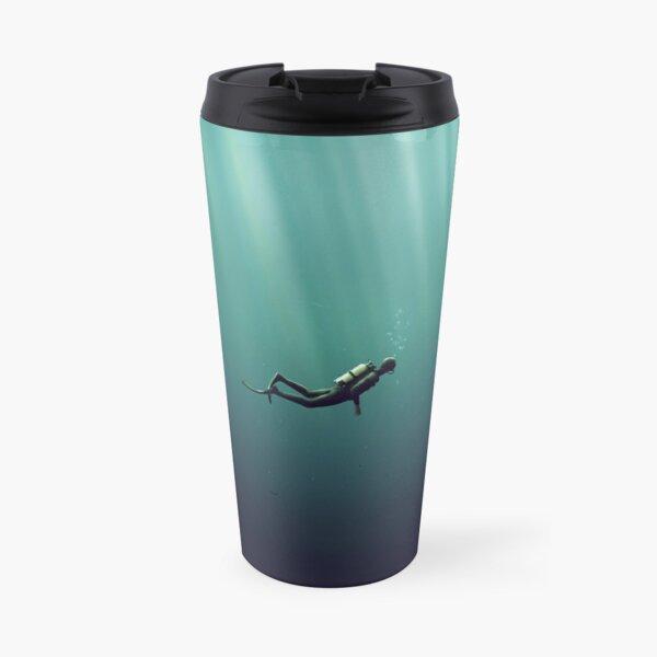 Underwater Scuba Diver in a Dark Lake Travel Mug
