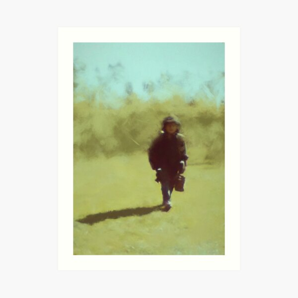 A young soldiers long lonely walk home by Brian Vegas Art Print