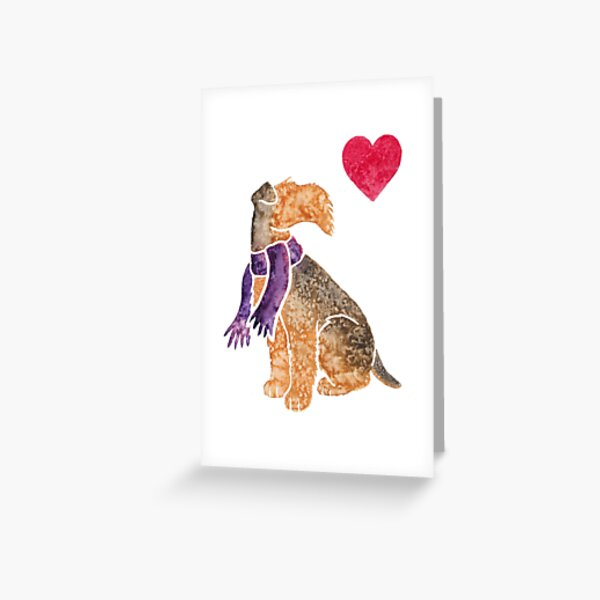Watercolour Airedale Greeting Card