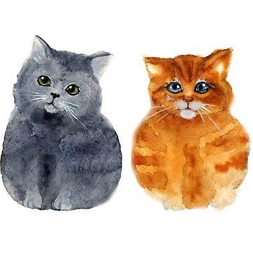 Cute Watercolour Cats by DV-LTD