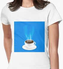 White Cup of Black Natural Coffee on Blue Background. Women's Fitted T-Shirt