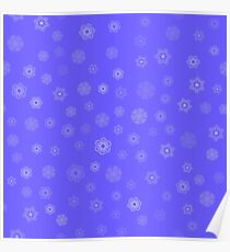 Winter Seamless Snowflake Pattern on Blue Background Poster