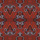 October Blooming, Bohemian Arabesque Pattern, Orange Grey Brown by clipsocallipso