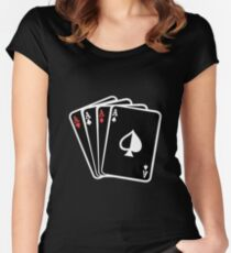 Black playing cards  Women's Fitted Scoop T-Shirt