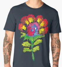 Oil pastel childlike stylized flower. Men's Premium T-Shirt