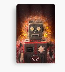 Robot on fire by Brian Vegas Canvas Print
