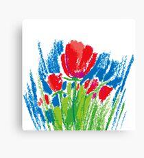 Oil pastel childlike stylized flower #2 Canvas Print