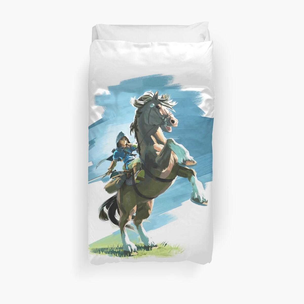 Link on Epona Legend of Zelda Breath of the Wild by Freeburn