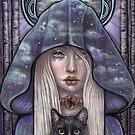 Nauthiz Rune Maiden black cat sorceress by MoonSpiral