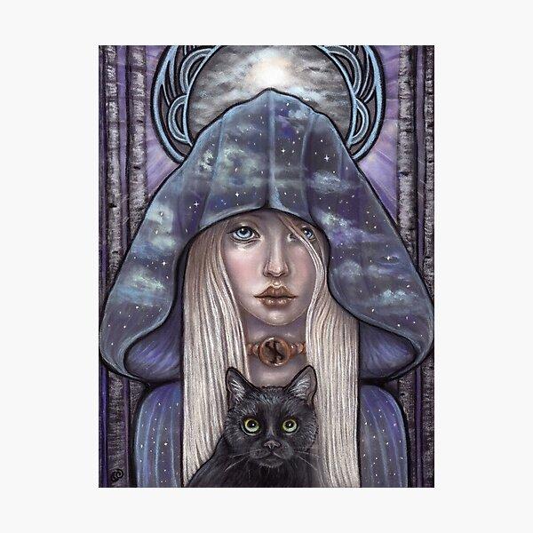 Nauthiz Rune Maiden black cat sorceress Photographic Print