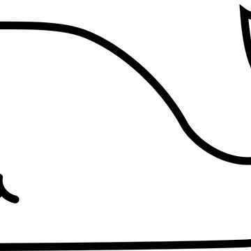 Black and White Contour Funny Whale by igorsin