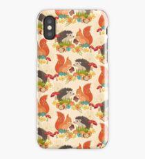 Hedgehog and Fox Art, Autumn Woodland Creature Animals  iPhone Case/Skin