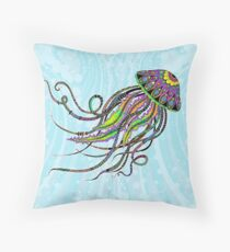 Electric Jellyfish Throw Pillow