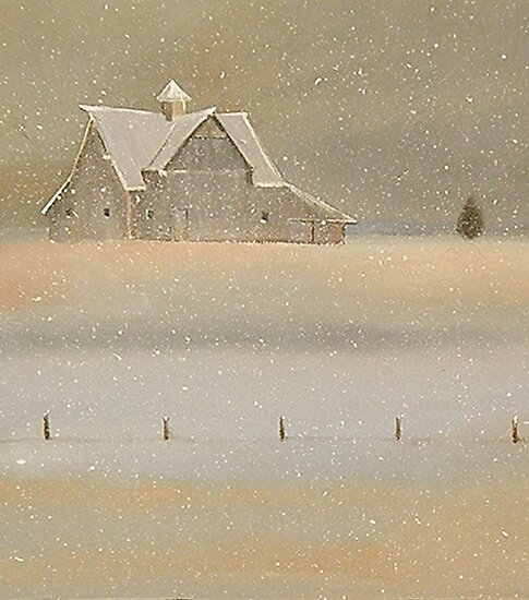 """""""Quiet Snow"""" Old Barn on the Farm by ToniGrote"""