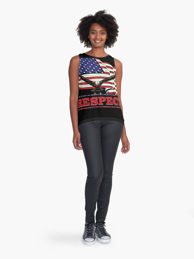 Alternate view of USA Flag with Eagle on Red text RESPECT Sleeveless Top