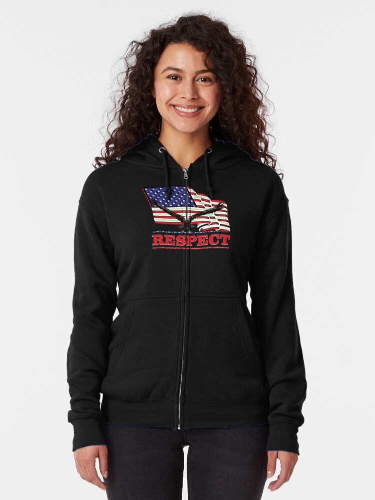 Alternate view of USA Flag with Eagle on Red text RESPECT Zipped Hoodie