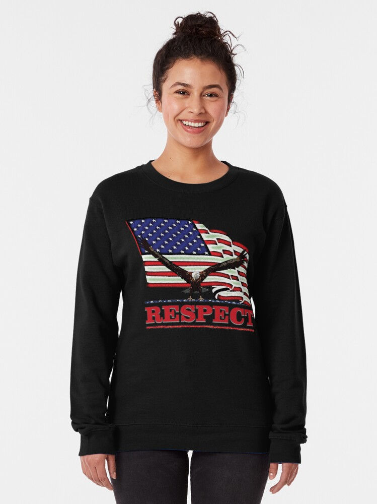Alternate view of USA Flag with Eagle on Red text RESPECT Pullover Sweatshirt