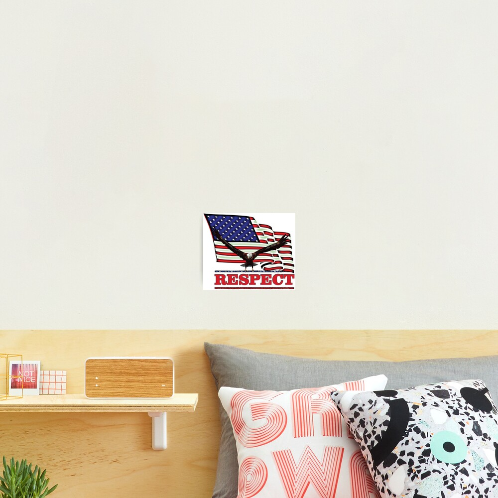 USA Flag with Eagle on Red text RESPECT Photographic Print