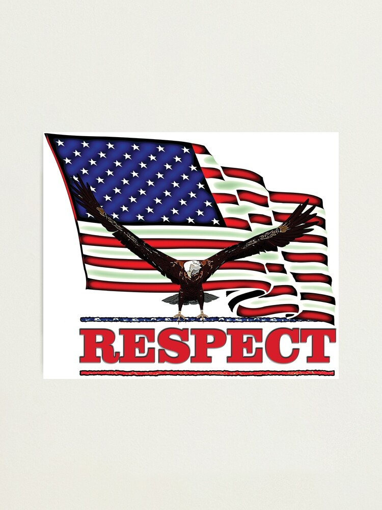 Alternate view of USA Flag with Eagle on Red text RESPECT Photographic Print