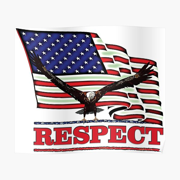 USA Flag with Eagle on Red text RESPECT Poster