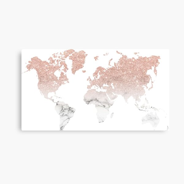 Marble Rose Gold Glitter World Map Canvas Print